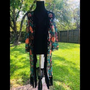 Shyanne fringe cardigan shawl.